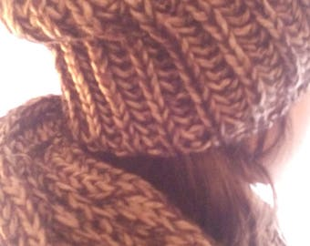 Set hat and Angora and acrylic snood in Heather Brown