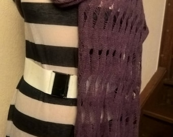 Plum colored acrylic and mohair shawl