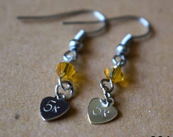 """Hand Stamped """"5k"""" Earrings with Amber Beads"""