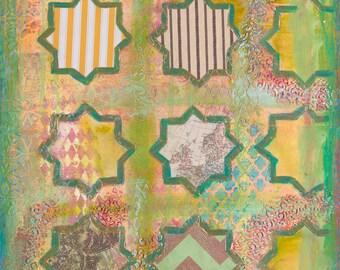 "Art print, 'Intelligence' 12x18"" Islamic art Pop art Green print Mixed media artwork Geometric design, Boho art decor, Wall art, Stars print"