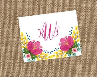 Printable Pink Posie Monogram (Fold-over note card)