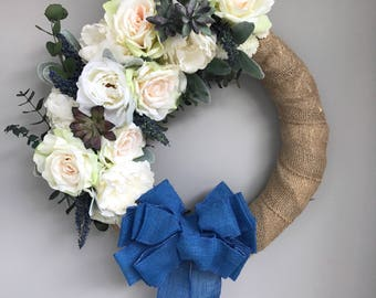 Blue, white, green floral wreath