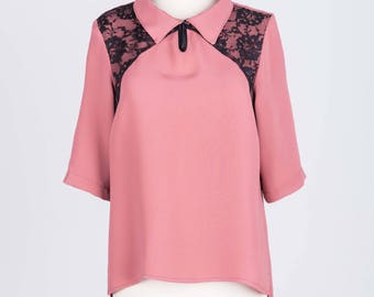 Pink with Black Lace detail blouse viscose