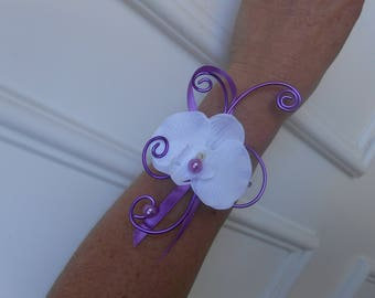 Flowers for bride or witness - Orchid, violet and purple bracelet