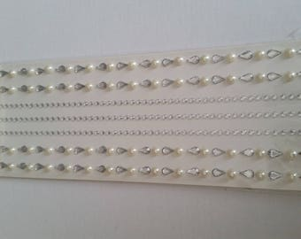 Beautiful border of pearls and rhinestones