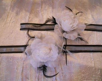 "Black and White Ribbon adornment white flower ""Wedding March"""