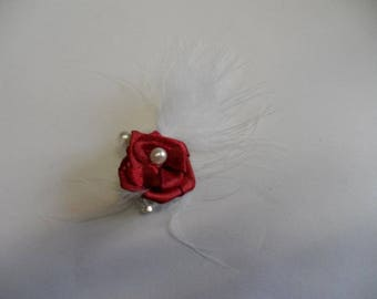 Brooch, red and white boutonniere