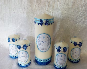 Candles for baptism or communion 29 cm + 4 15 cm candle