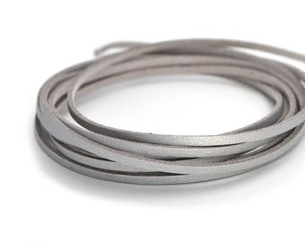 Silver faux leather and suede cord
