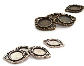 Set of 4 holders cabochons tray 14 mm choose colors