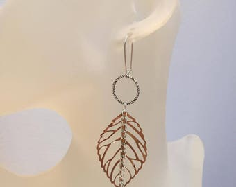 Ring and fine leaf earrings