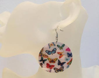 Mother of Pearl Butterfly coin earrings