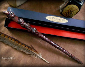 Hand carved African Samba wood wand: Princeps - with black box