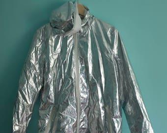 Barbarella styling silver rain jacket with hood