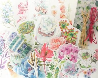 Floral Scrapbook Kit, Snail Mail Kit, Penpal Kit, Junk Journal Kit, Floral Sticker Set, Floral Washi Tape Set, Collage Kit, Ephemera Pack