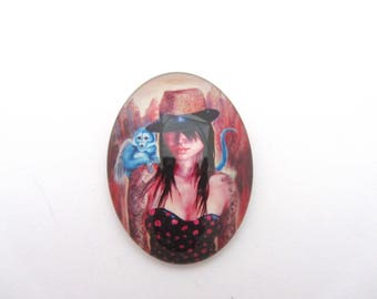 Oval glass cabochon woman 30x40mm, jewelry finding, glass cabochon, cabochon