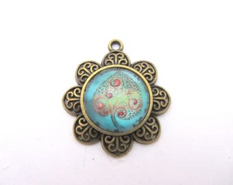 Bronze pendant with tree of life glass cabochon