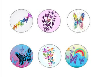 """25mm, 20mm, 18x25mm, 12mm, Digital Images for hobby """"Butterflies"""""""
