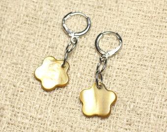 Mother of Pearl 15mm Bronze Gold Flower Earrings
