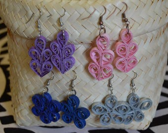 Coiled Flower Earrings, 5 Spirals - Recycled