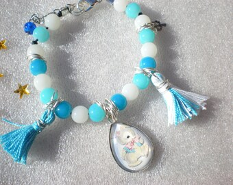 "Bracelet, cabochon, beads, tassels, ""rabbit"" cabochon, blue tassels, blue, white beads"