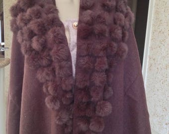 one size Cape with tassels in chocolate brown rabbit fur