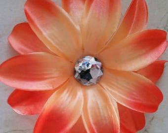 set of 2 large appliques flowers orange 12cm
