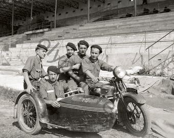 Vintage photography - Portrait (?) military band sidecar motorcycle