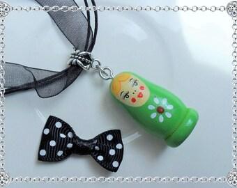 Necklace pendant - matryoshka Russian doll - green - silver bail