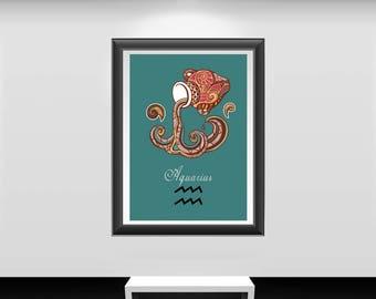 Aquarius print, Aquarius art, Aquarius poster, zodiac art print, zodiac Aquarius, zodiac signs art, zodiac sign print, zodiac sign poster,