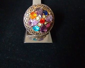 Adjustable antique gold tone ring with multi color glass stones