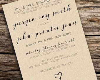 Printable Customized Wedding Invitation