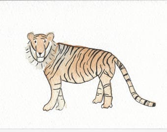 Tiger Watercolour painting - Print - Available in A4, A5 or A6