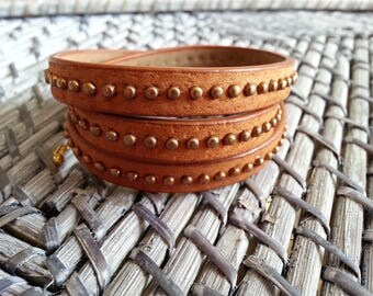 Brown Leather Bracelet studded 3 rounds