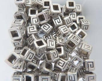 Set of 20 beads CUBE - 4 mm Tibetan silver SPACER
