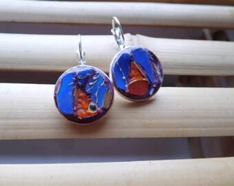 Dali orange butterfly earrings