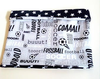 """Snood child mid season for boy, tube scarf reversible in coordinated patterns gray jersey """"soccer"""" and stars"""