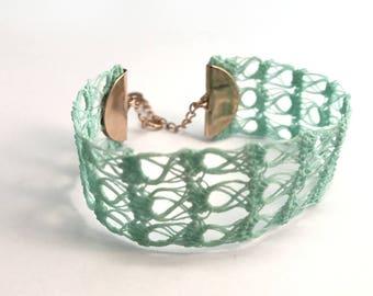 Bracelet - Lace cuff crochet semi-rigid - Aqua - Rose gold