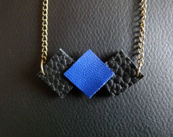 """Trio of square"" leather necklace adjustable"