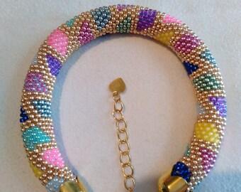 Russian spiral bracelet crocheted manually Miyuki Delica