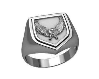 Bald Eagle Symbol Men Eagle Symbol Men Ring Sterling Solid Silver 925 SKU30196