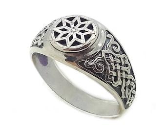 Alatyr Slavic Amulet Unisex Ring Signet Sterling Solid Silver 925 SKU km496