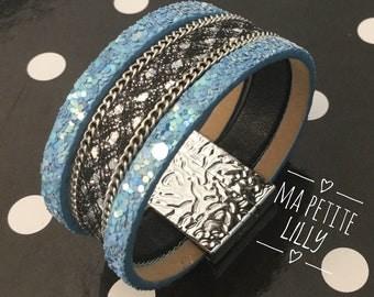 Leopard leather Cuff Bracelet