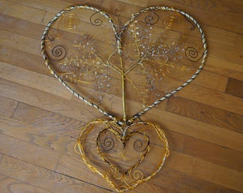 Double heart with tree of life handmade Brown and Golden hands
