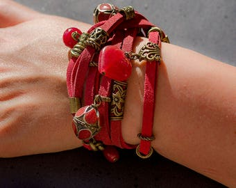 Boho red suede bracelet, wearable as necklace, red Bamboo Coral, Ruby root, red Agate, engraved brass, boho chic, aries, scorpio, red lovers