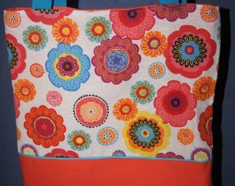 "Tote bag ""vintage"" flower motifs"