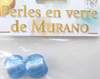 set of 2 blue art glass beads . 5509