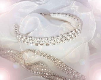 Pearl and rhinestone bridal headband headband