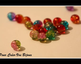 Set of 50 8mm glass beads in different colors