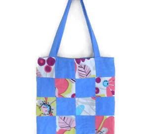 Bag, tote bag in blue and multicolor patchwork